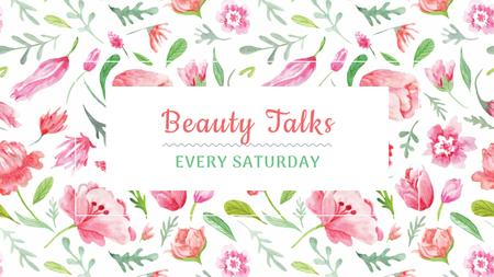 Plantilla de diseño de Beauty Event Announcement with Watercolor Flowers Pattern Youtube