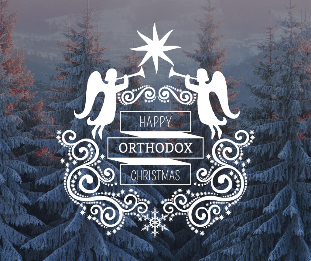 Christmas Greeting Winter Forest and Angels — Maak een ontwerp