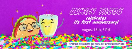 Celebration Invitation Dancing Taco and Lemonade Facebook Video cover Modelo de Design
