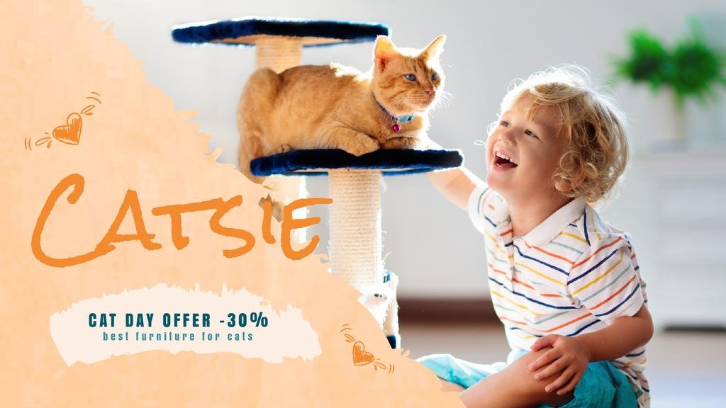 Cat Day Offer Child Playing with Red Cat — Modelo de projeto