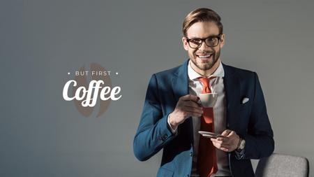 Modèle de visuel Confident Businessman with Coffee - Youtube