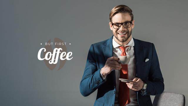 Confident Businessman with Coffee Youtube – шаблон для дизайна