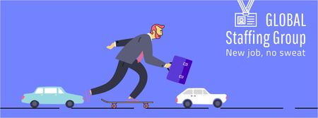 Szablon projektu Businessman riding skateboard to work Facebook Video cover