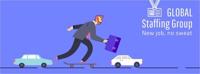 Businessman riding skateboard to work Facebook Video cover Design Template