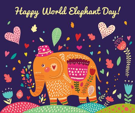 Elephant Day colorful animal painting Facebookデザインテンプレート