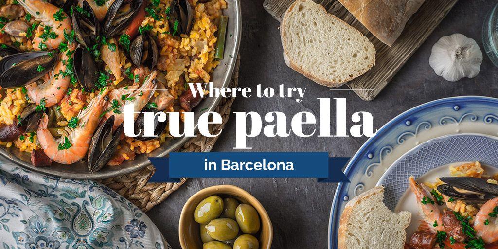 Paella Spanish Dish with Bread and Olives — Modelo de projeto
