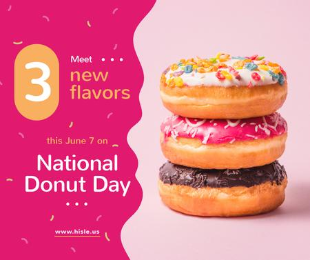 Delicious glazed Donut's day sale Facebook Design Template