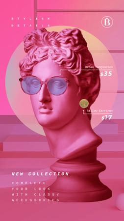 Modèle de visuel Sunglasses Ad Sculpture in Pink Eyewear - Instagram Video Story