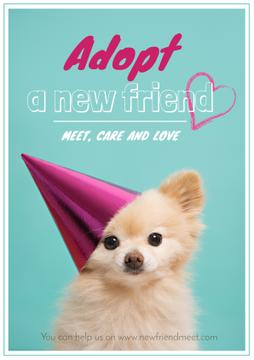 Funny Fluffy Dog in Pink Cap for Poster in Blue