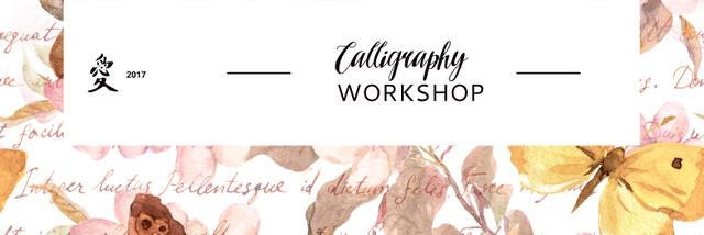 Calligraphy Workshop Announcement Watercolor Flowers Twitter Design Template