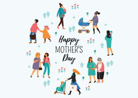 Ontwerpsjabloon van Card van Happy Mother's Day postcard