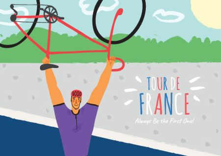Ontwerpsjabloon van Postcard van Tour de France with Man holding Bike