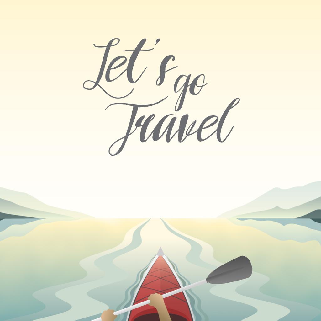 Man Kayaking on Calm River — Crea un design