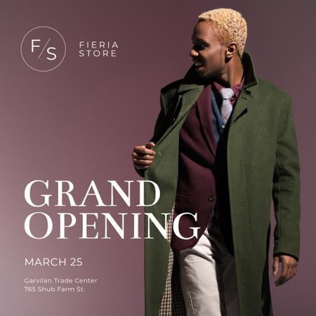 Shop Ad with African American Man in green coat Instagram Modelo de Design