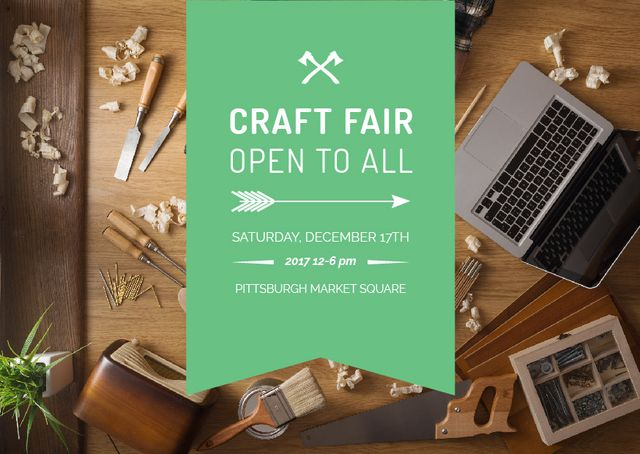 Craft fair Announcement with Laptop Card Design Template
