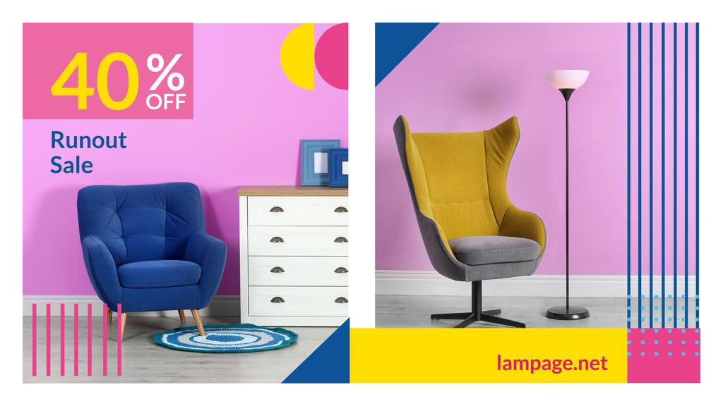 Furniture Sale Armchair in Colorful Interior — Maak een ontwerp