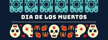 Skulls in Dia de los muertos masks Facebook cover – шаблон для дизайну