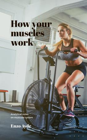 Woman Training on Spinning Bike Book Cover Modelo de Design