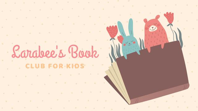 Book Club Ad with Animals Illustration Full HD video Modelo de Design