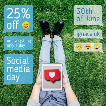 Social Media Day Sale Man Holding Tablet