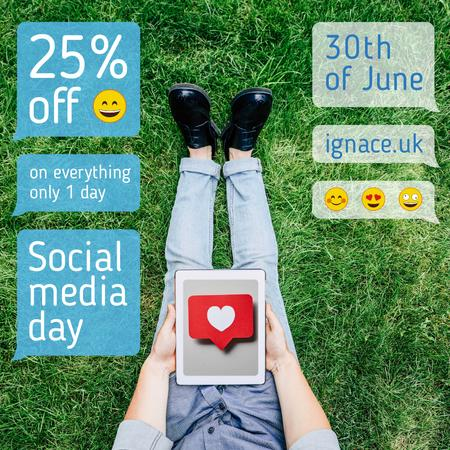 Social Media Day Sale Man Holding Tablet Instagram Design Template