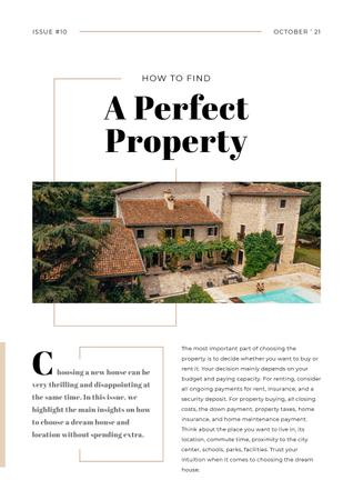Plantilla de diseño de How to find Perfect Property Article with House Design Newsletter