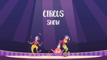 Circus Show Announcement Clowns on Arena | Full Hd Video Template