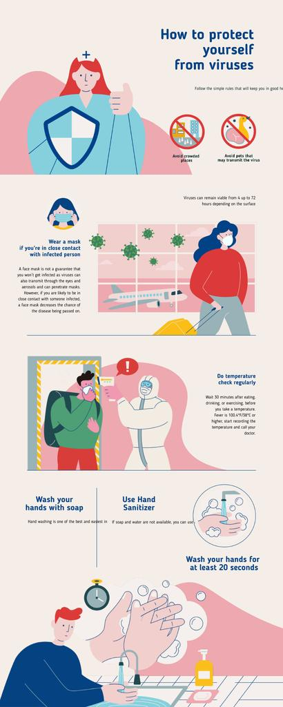 Modèle de visuel Education infographics How to protect from yourself Viruses - Infographic