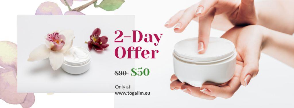 Plantilla de diseño de Cosmetics Sale with Woman Applying Cream Facebook cover