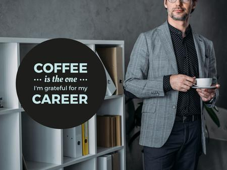 Ontwerpsjabloon van Presentation van Confident Businessman holding Coffee