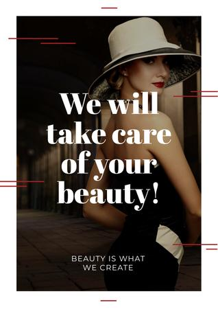 Citation about care of beauty Poster Modelo de Design