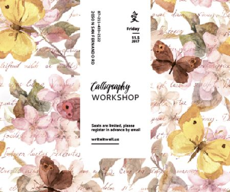 Plantilla de diseño de Calligraphy Workshop Announcement Watercolor Flowers Large Rectangle