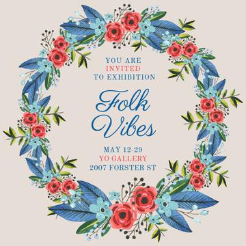 Art Exhibition announcement in Flowers Wreath