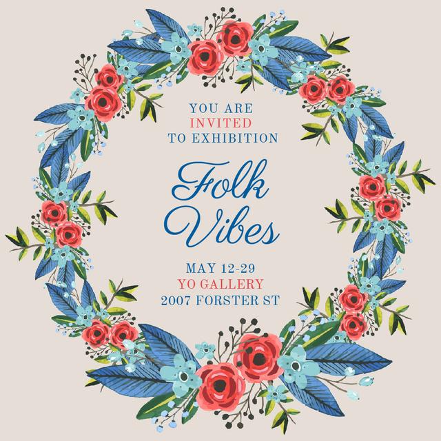 Art Exhibition announcement in Flowers Wreath Instagram ADデザインテンプレート