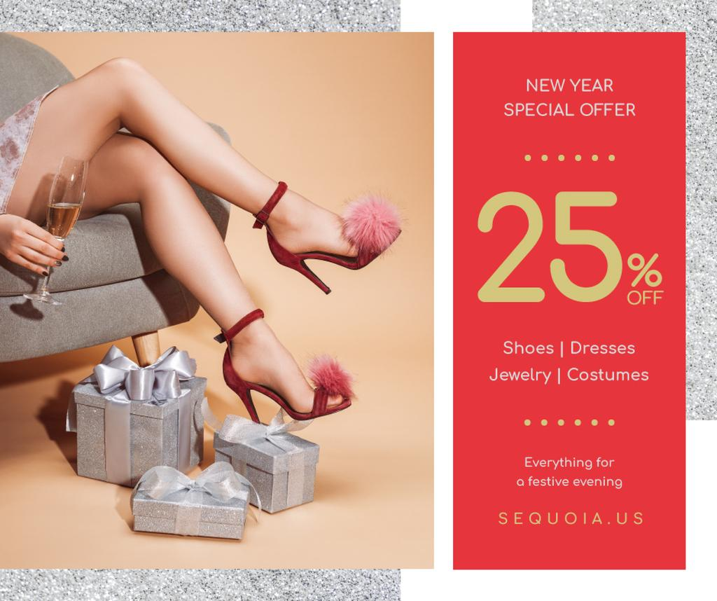 New Year Offer Girl with Gifts and Champagne — Crea un design