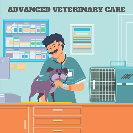 Ontwerpsjabloon van Animated Post van Vet taking care of dog