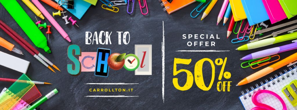 Back to School Sale Stationery on Blackboard | Facebook Cover Template — Crear un diseño