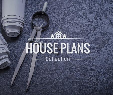 House Plans blueprints on table Facebookデザインテンプレート