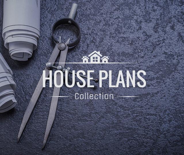 Plantilla de diseño de House Plans blueprints on table Facebook