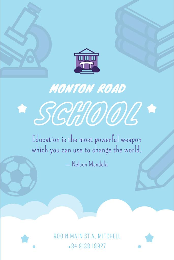 School Advertisement Studying Icons in Blue | Pinterest Template — Create a Design
