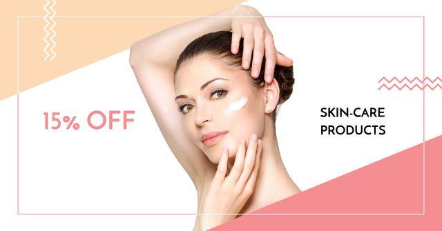 Plantilla de diseño de Woman applying Cream for Cosmetics Sale Facebook AD
