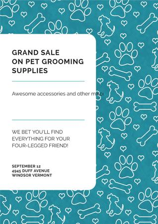 Designvorlage Grand sale of pet grooming supplies für Poster