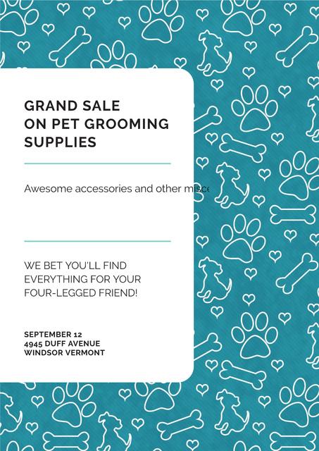 Grand sale of pet grooming supplies Poster Tasarım Şablonu
