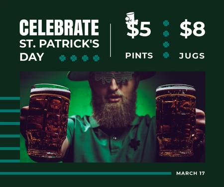 Saint Patrick's Day leprechaun with beer Facebook Modelo de Design