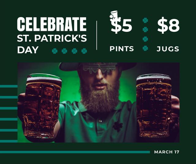 Plantilla de diseño de Saint Patrick's Day leprechaun with beer Facebook