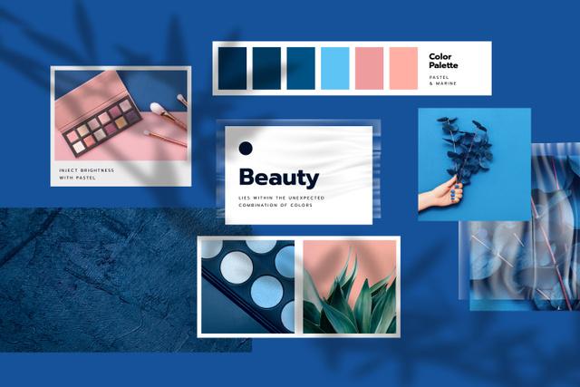 Modèle de visuel Cosmetics Palette in blue colors - Mood Board