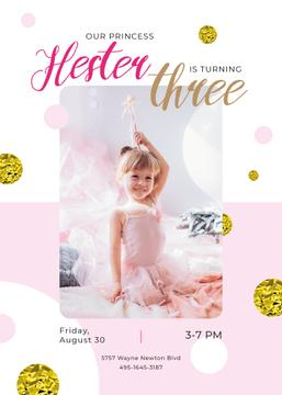 Kid Birthday Invitation Girl in Princess Dress