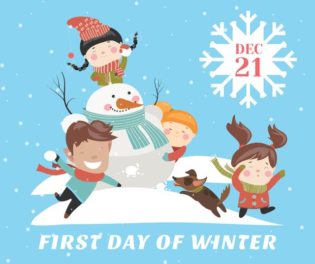 Kids making Snowman on First Day of Winter Facebook Design Template