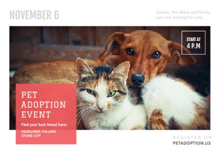 Pet Adoption Event Dog and Cat Hugging Postcard Modelo de Design