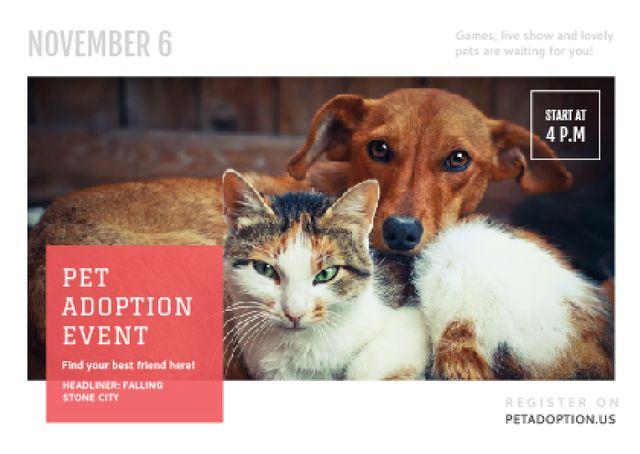 Plantilla de diseño de Pet Adoption Event Dog and Cat Hugging Postcard